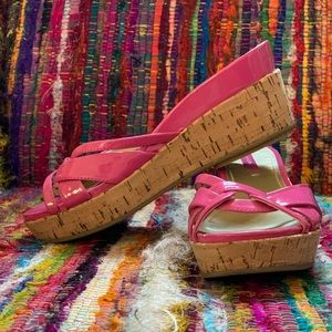 Bandolino Pink Patent & Cork Wedge Sandals | Sz 6M